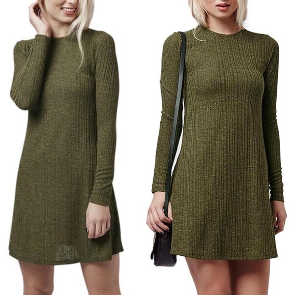 Topshop Dresses & Skirts - Topshop Long Sleeve Ribbed Dress Green